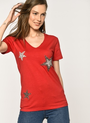 Loves You Yıldız Taşlı T-Shirt Kırmızı